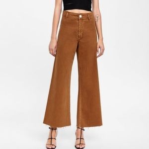 Zara Burnt Orange Marine Straight Raw Hem Jeans